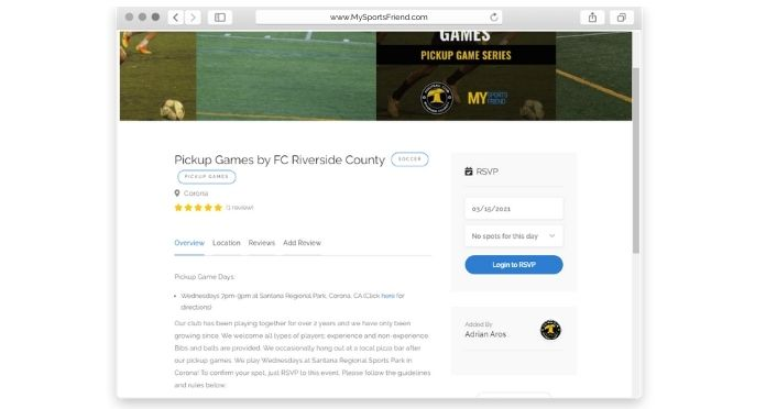 MySportsFriend FC Riverside County Partner Program